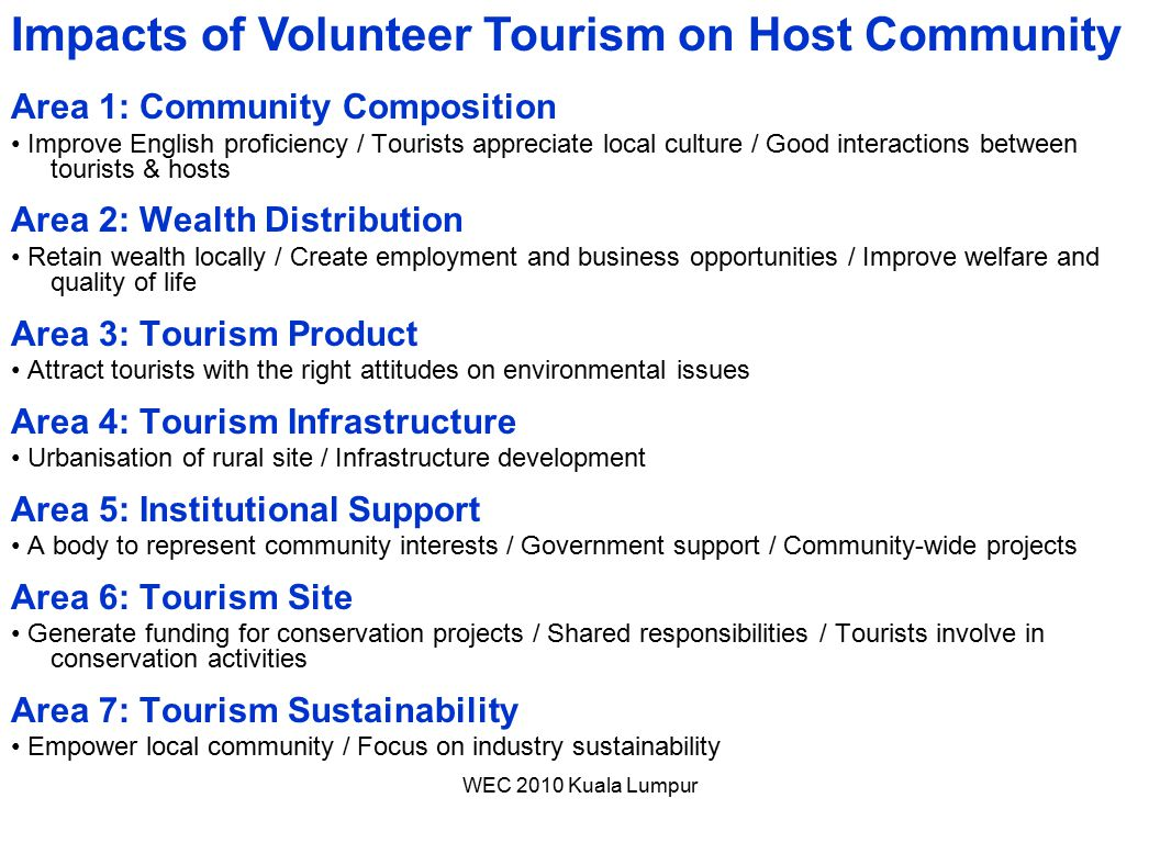 Impacts of Volunteer Tourism on Host Community