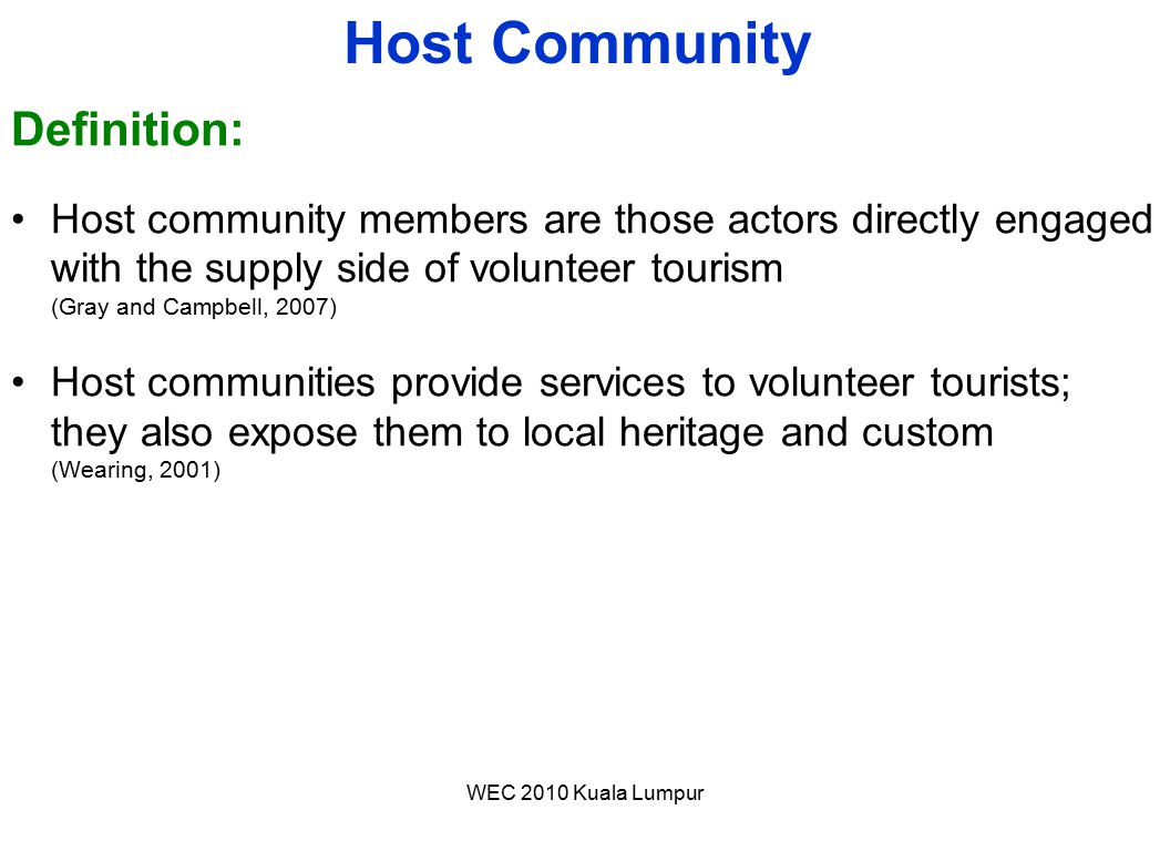 Host Community Definition: