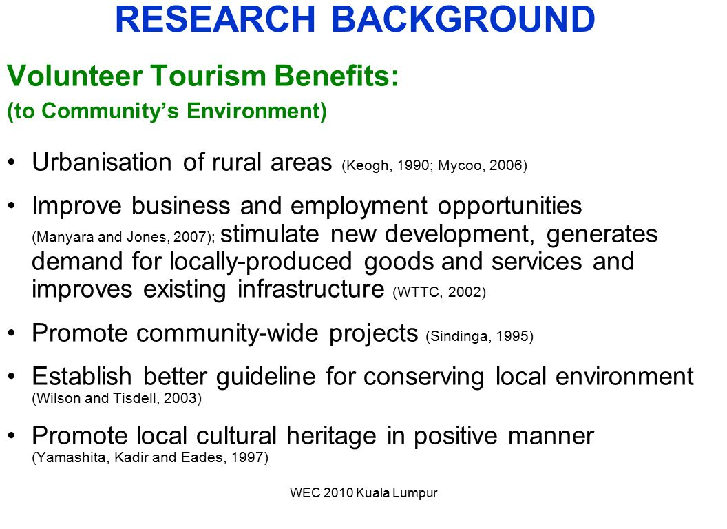 RESEARCH BACKGROUND Volunteer Tourism Benefits: