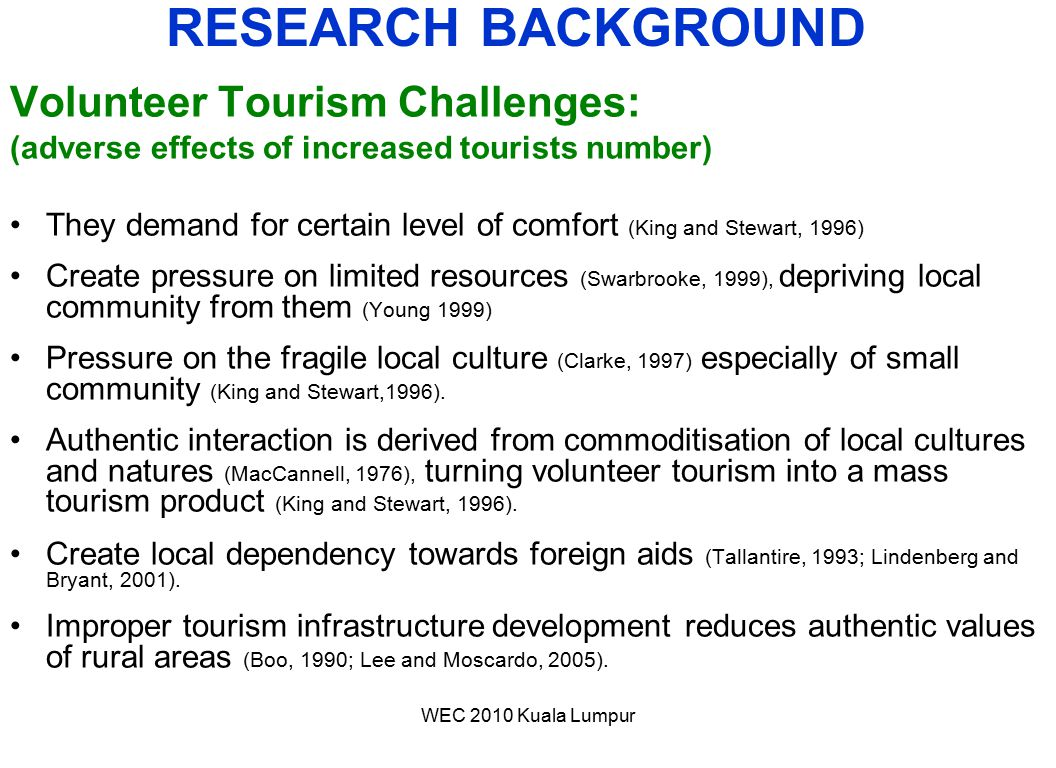 RESEARCH BACKGROUND Volunteer Tourism Challenges: