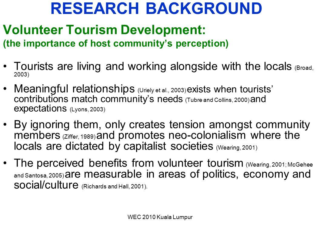 RESEARCH BACKGROUND Volunteer Tourism Development: