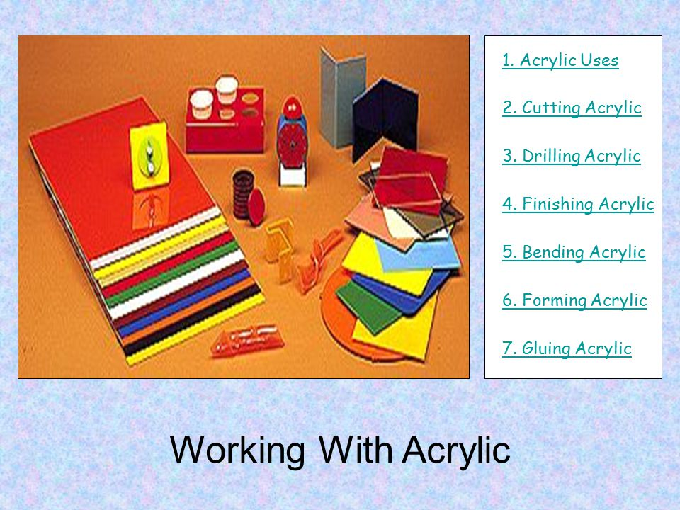 Working With Acrylic 1. Acrylic Uses 2. Cutting Acrylic