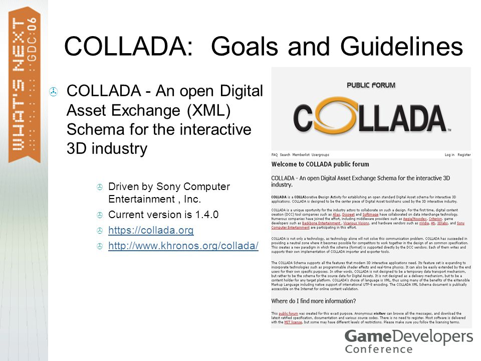 COLLADA: Goals and Guidelines