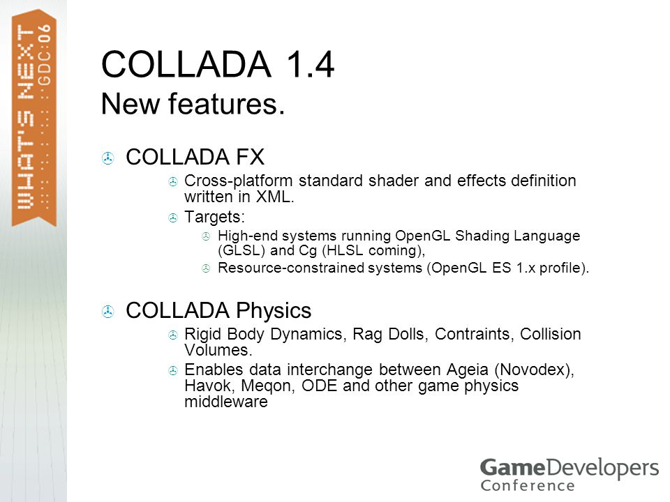 COLLADA 1.4 New features. COLLADA FX COLLADA Physics