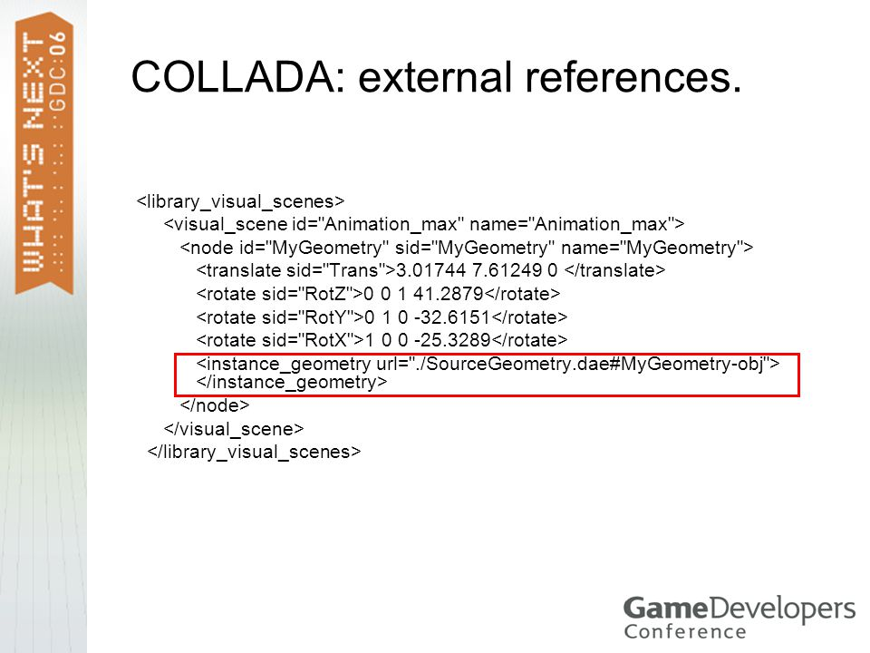 COLLADA: external references.