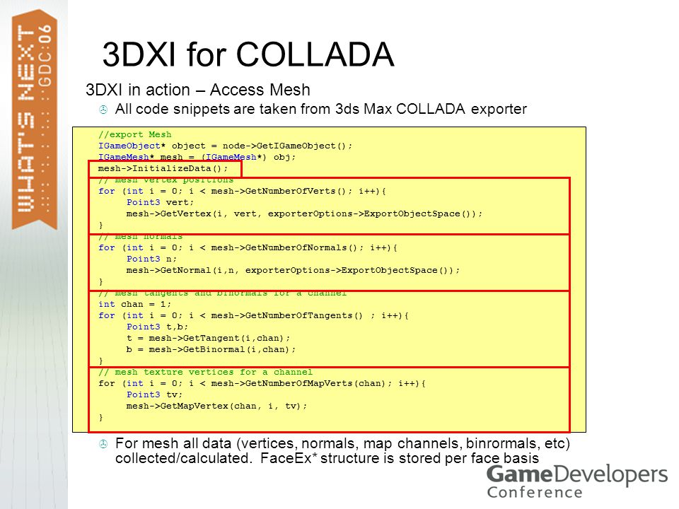 3DXI for COLLADA 3DXI in action – Access Mesh