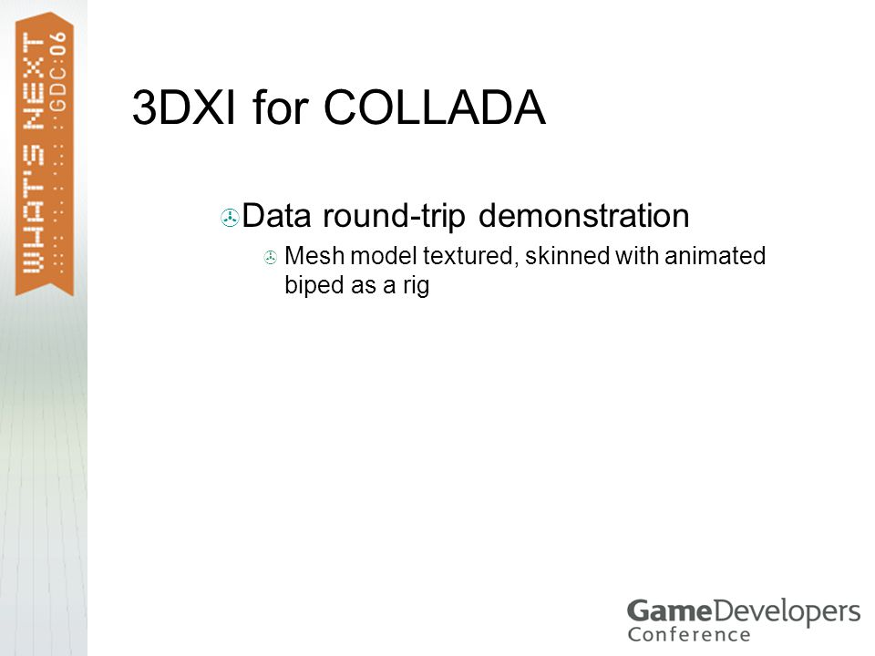 3DXI for COLLADA Data round-trip demonstration