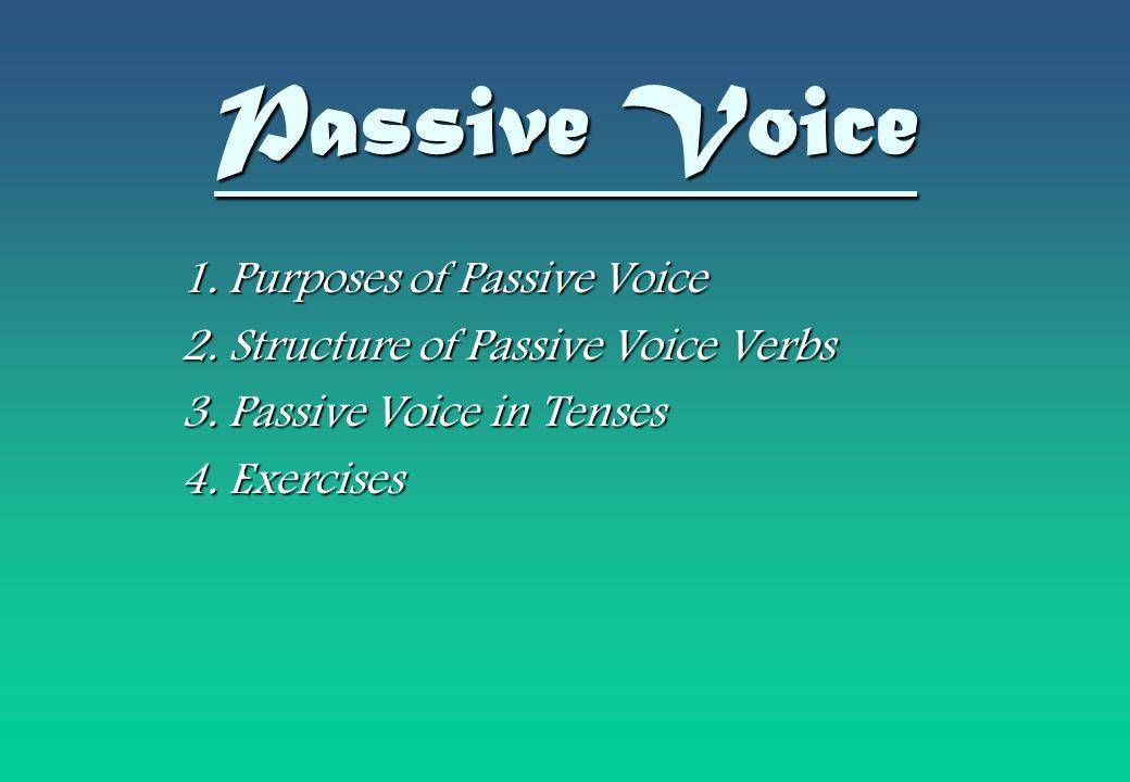Passive Voice 1. Purposes of Passive Voice