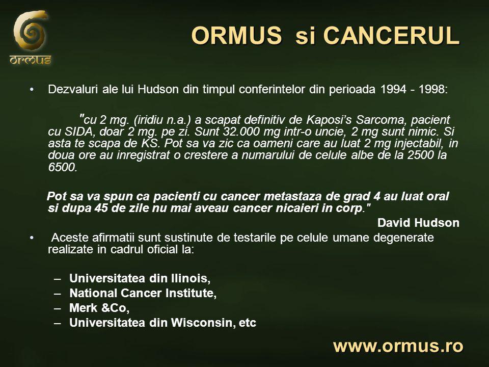 ORMUS si CANCERUL Dezvaluri ale lui Hudson din timpul conferintelor din perioada 1994 - 1998: