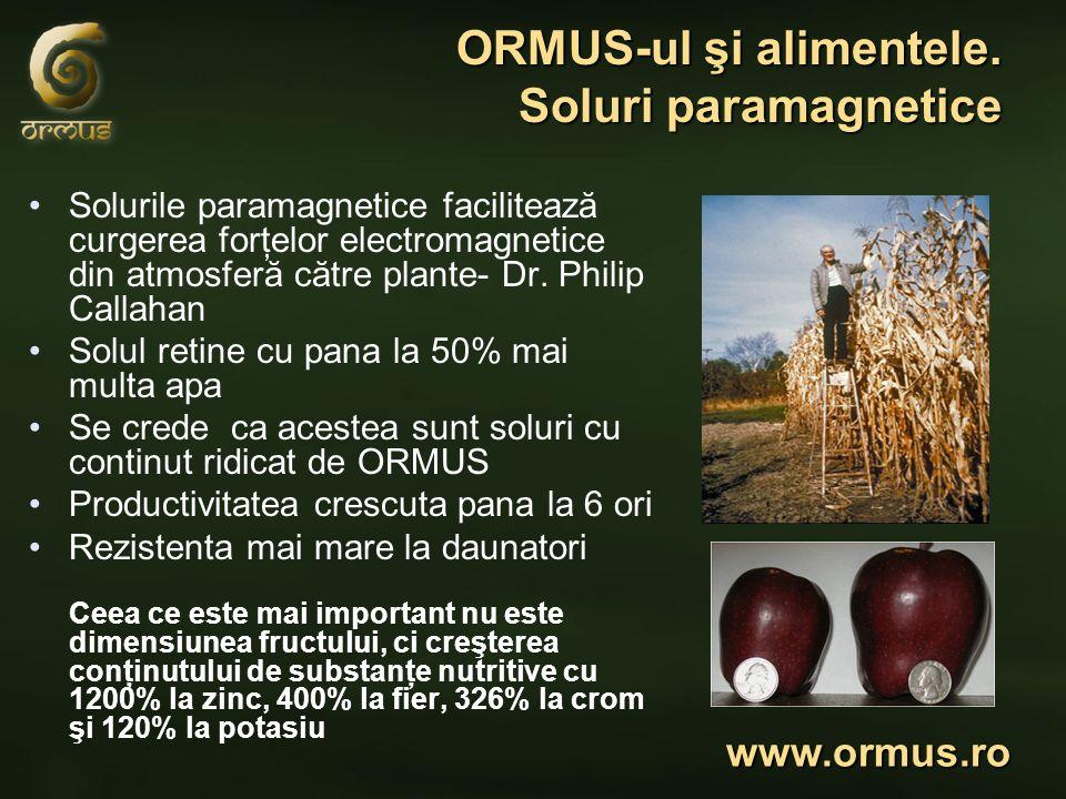 ORMUS-ul şi alimentele. Soluri paramagnetice