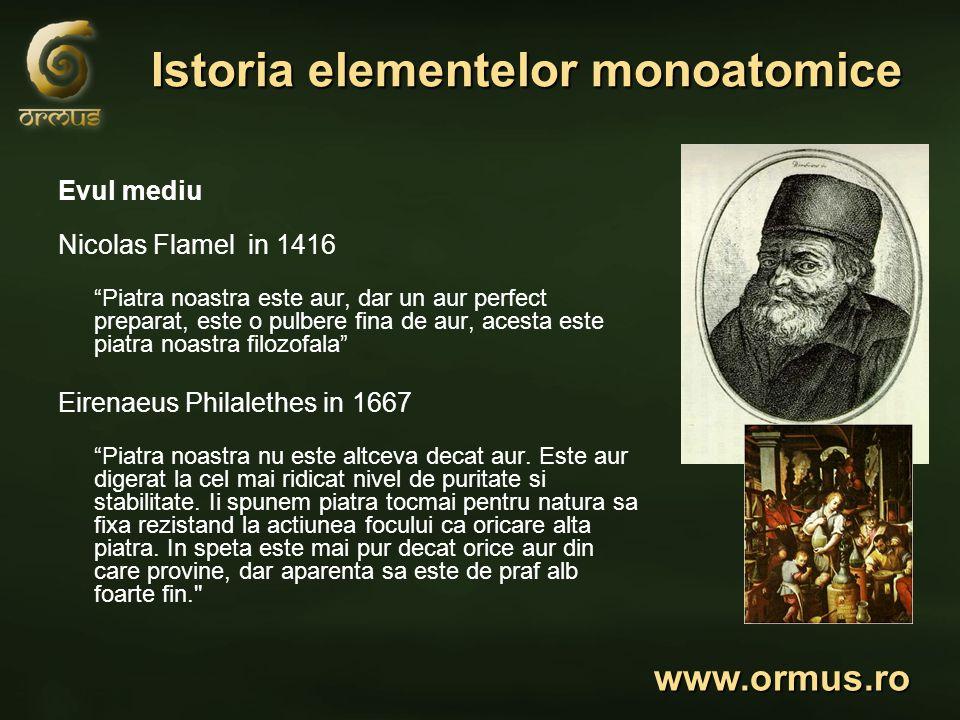 Istoria elementelor monoatomice