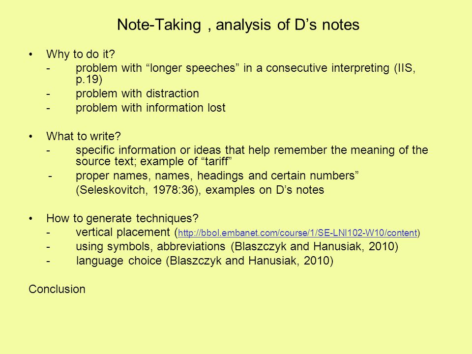 Note-Taking , analysis of D's notes