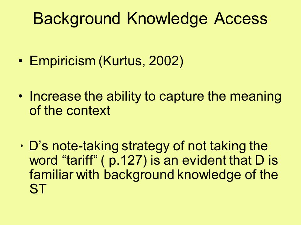Background Knowledge Access