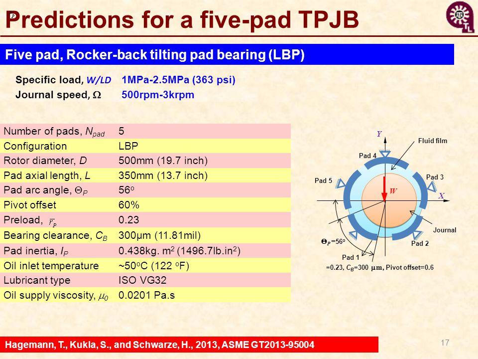 Predictions for a five-pad TPJB