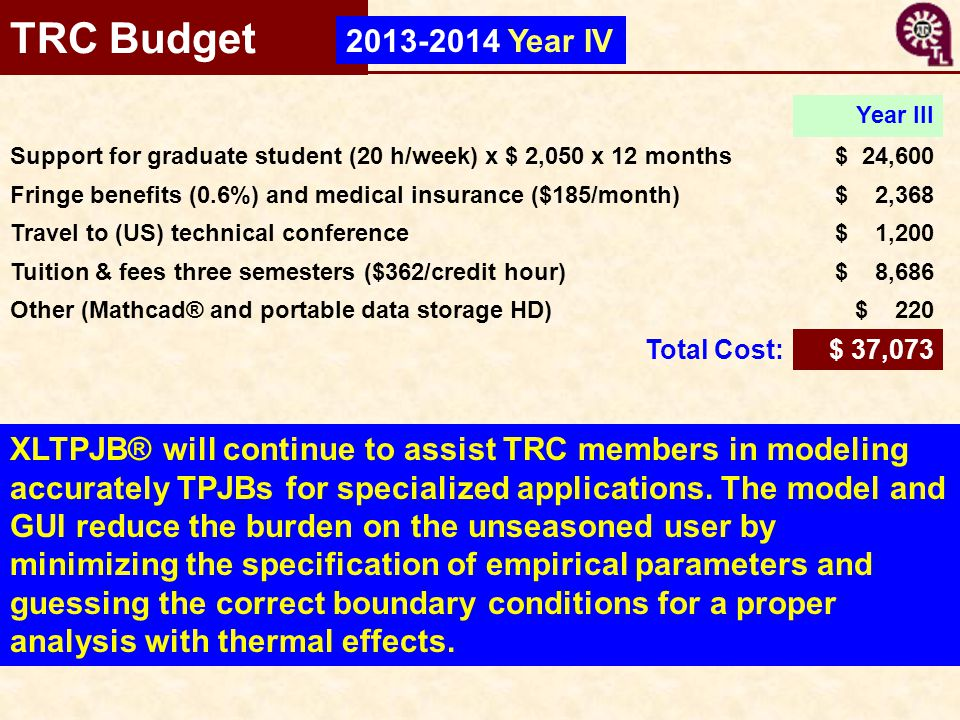 TRC Budget 2013-2014 Year IV. Year III. Support for graduate student (20 h/week) x $ 2,050 x 12 months.