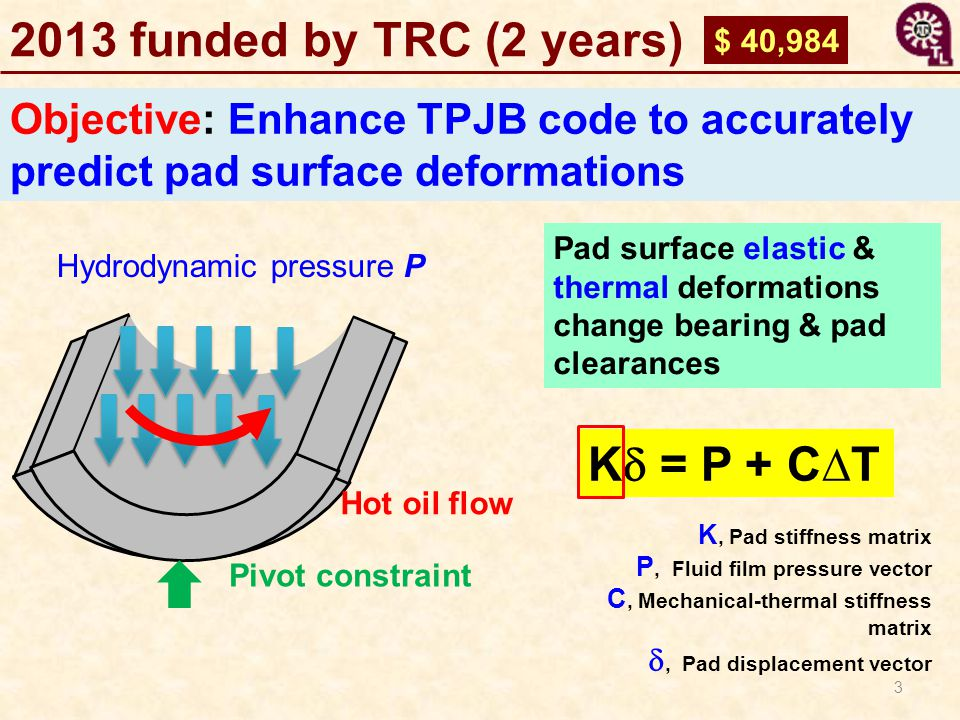 2013 funded by TRC (2 years) Kd = P + C∆T