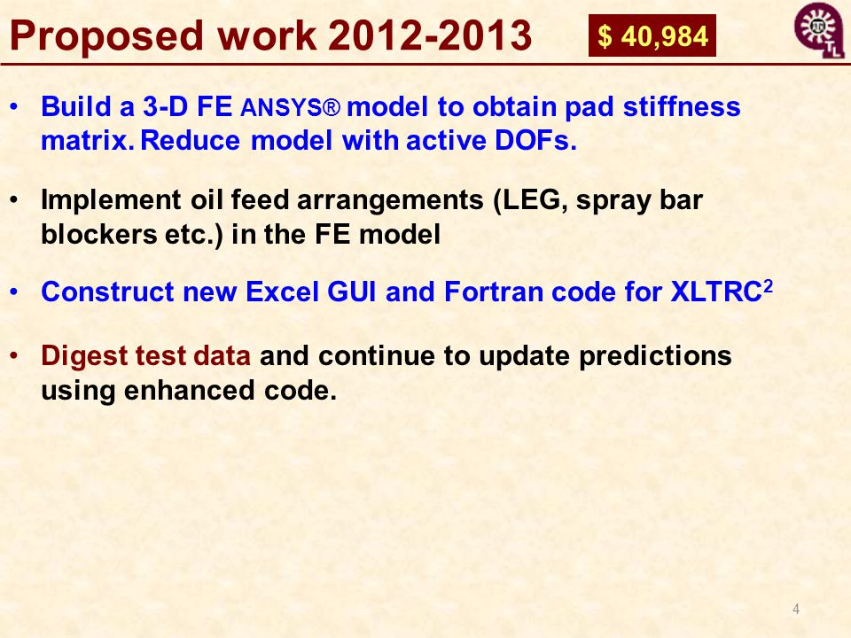 Proposed work 2012-2013 $ 40,984. Build a 3-D FE ANSYS® model to obtain pad stiffness matrix. Reduce model with active DOFs.