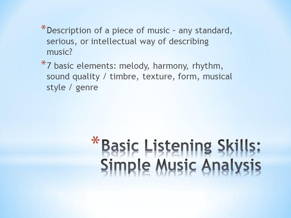 Basic Listening Skills: Simple Music Analysis