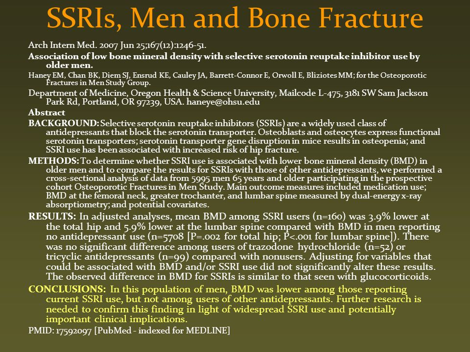 SSRIs, Men and Bone Fracture
