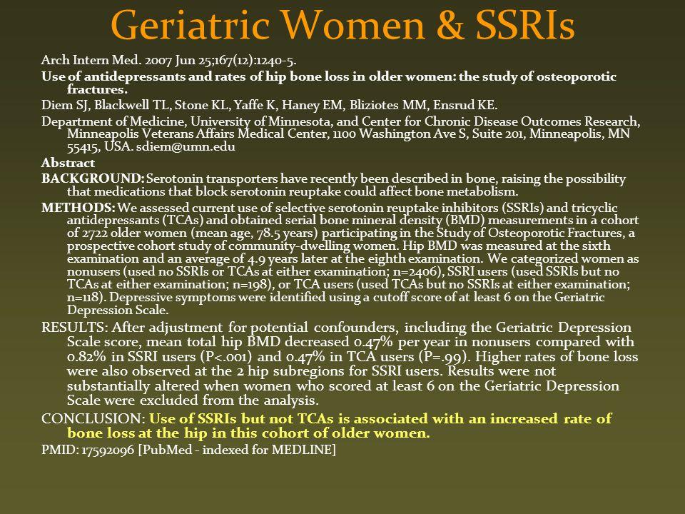 Geriatric Women & SSRIs