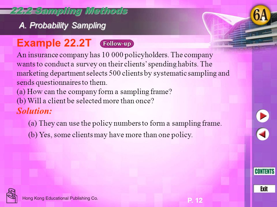 Example 22.2T 22.2 Sampling Methods Solution: A. Probability Sampling
