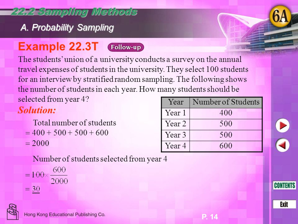 Example 22.3T 22.2 Sampling Methods Solution: A. Probability Sampling