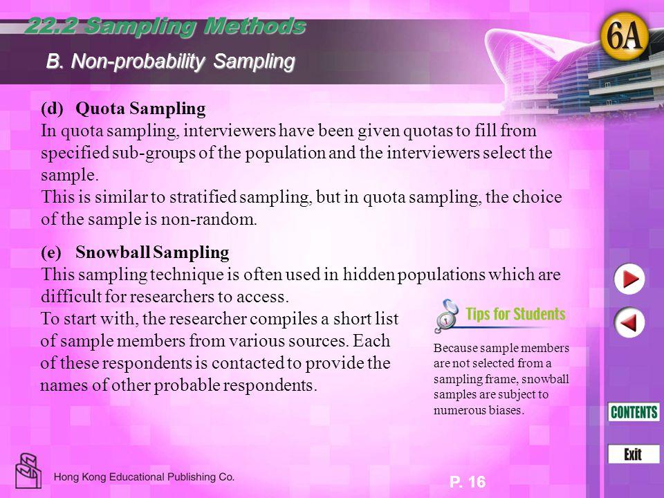 22.2 Sampling Methods B. Non-probability Sampling (d) Quota Sampling