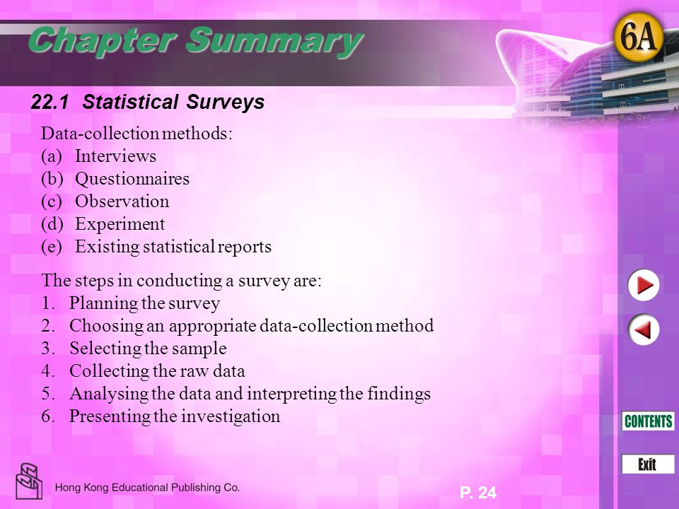 Chapter Summary 22.1 Statistical Surveys Data-collection methods: