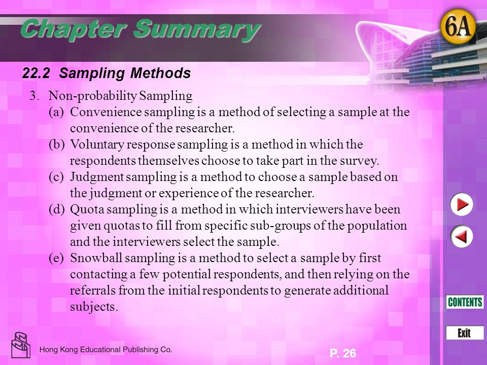 Chapter Summary 22.2 Sampling Methods 3. Non-probability Sampling