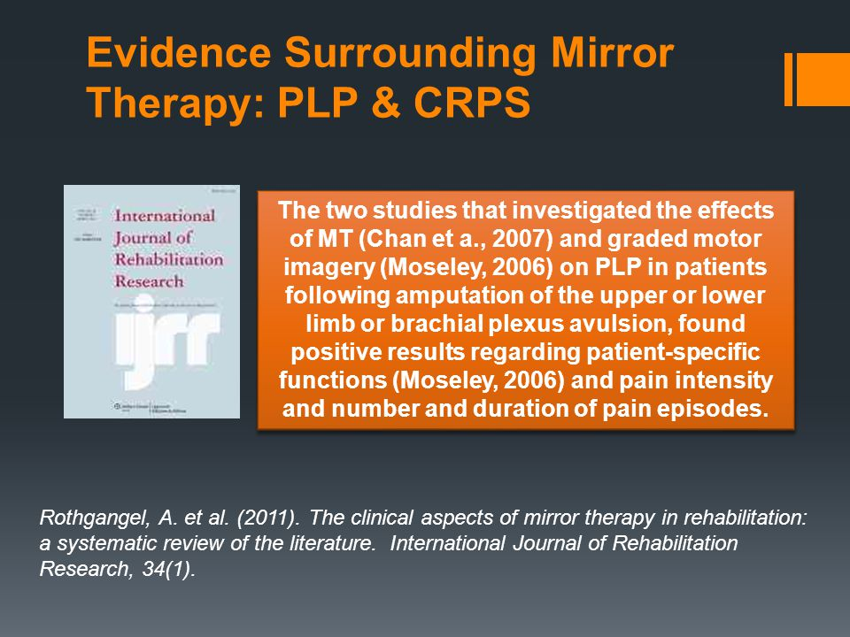 Evidence Surrounding Mirror Therapy: PLP & CRPS