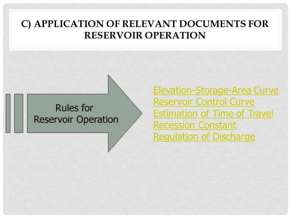c) APPLICATION OF RELEVANT DOCUMENTS FOR RESERVOIR OPERATION