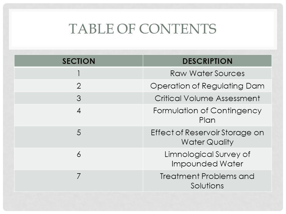 Table of contents SECTION DESCRIPTION 1 Raw Water Sources 2