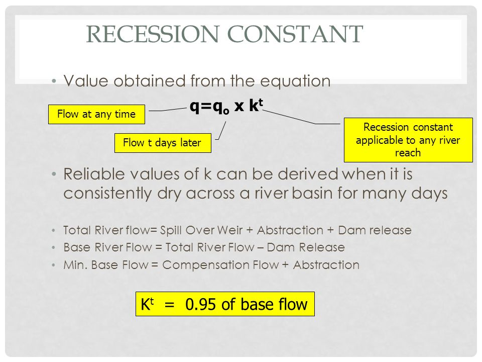 Recession constant applicable to any river reach