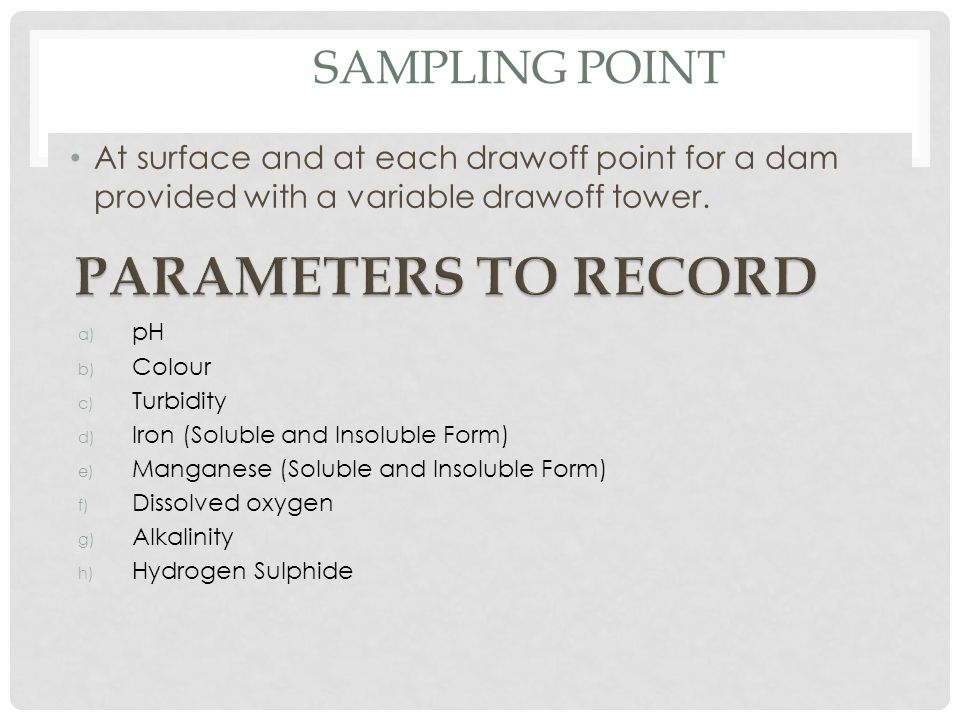PARAMETERS TO RECORD SAMPLING POINT