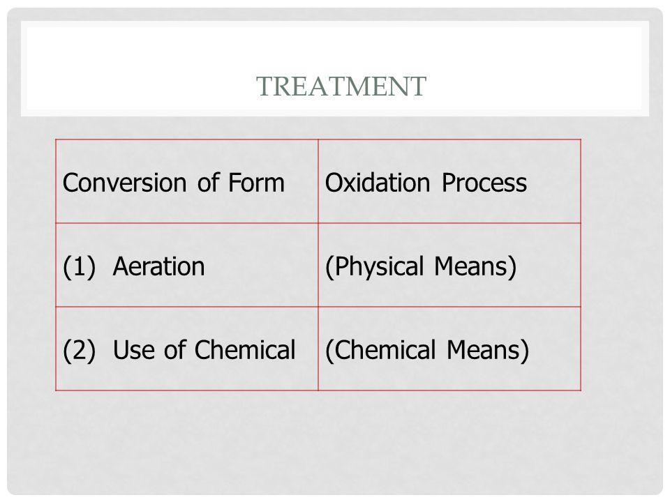 TREATMENT Conversion of Form Oxidation Process (1) Aeration