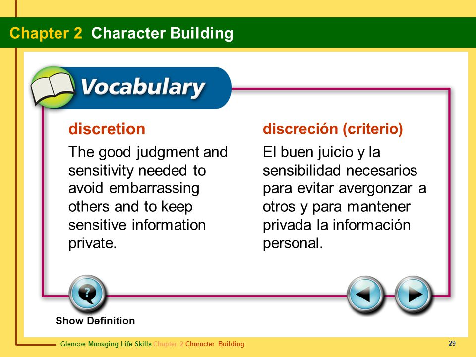 discretion discreción (criterio)