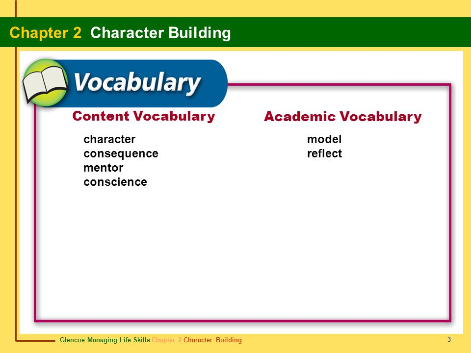 Content Vocabulary Academic Vocabulary character consequence mentor