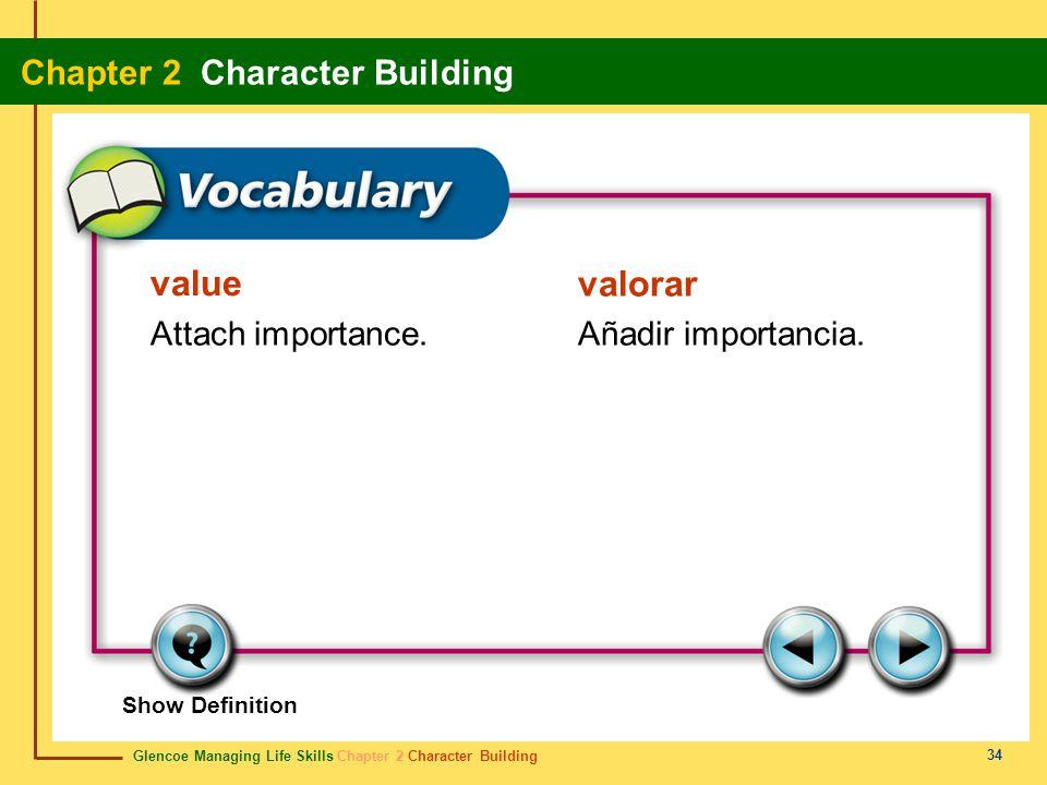 value valorar Attach importance. Añadir importancia. Show Definition