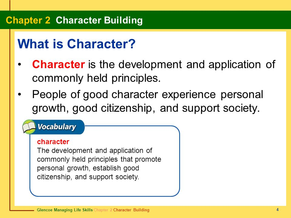 What is Character Character is the development and application of commonly held principles.