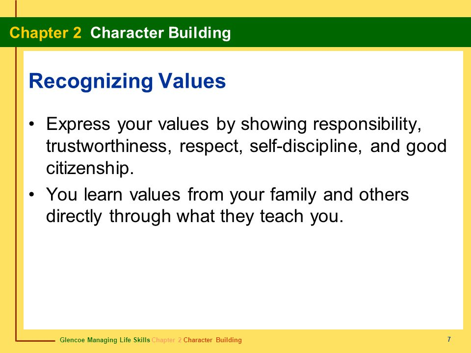 Recognizing Values Express your values by showing responsibility, trustworthiness, respect, self-discipline, and good citizenship.