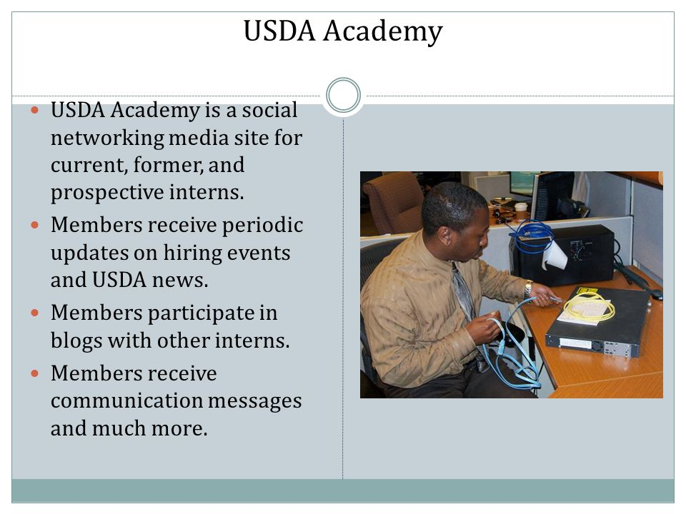 Members receive periodic updates on hiring events and USDA news.