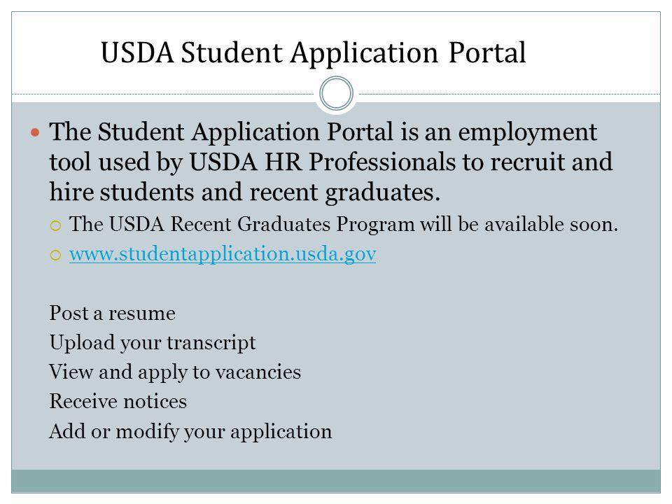 USDA Student Application Portal