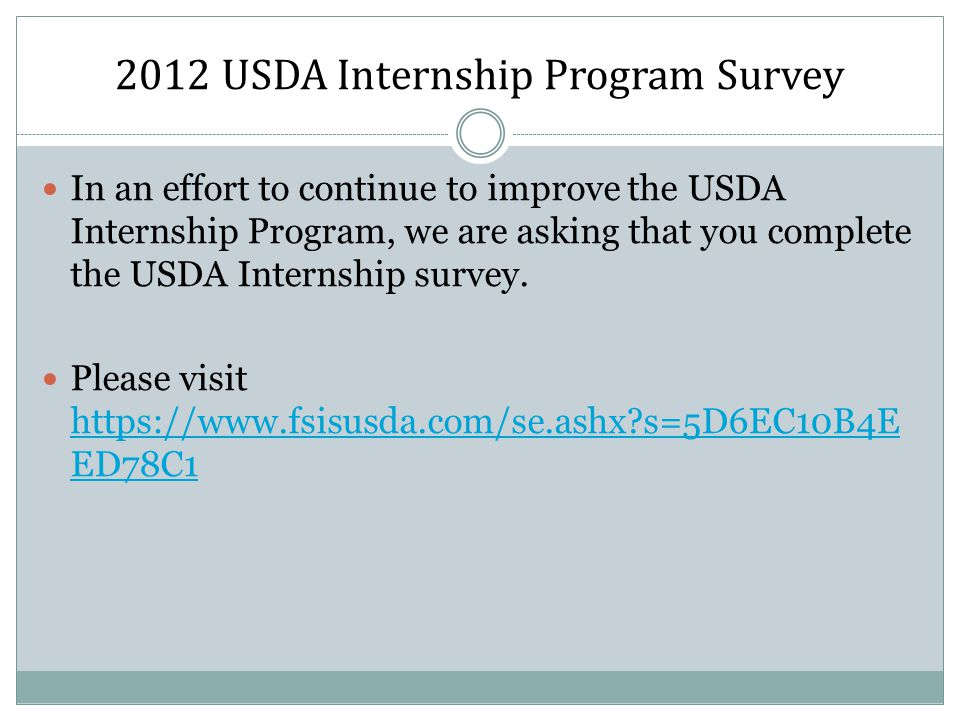2012 USDA Internship Program Survey