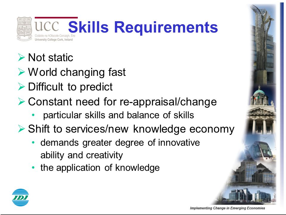 Skills Requirements Not static World changing fast