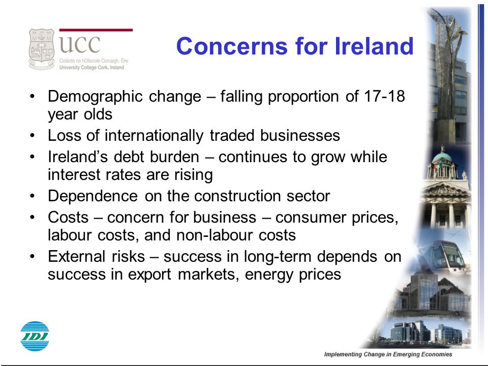 Concerns for Ireland Demographic change – falling proportion of 17-18 year olds. Loss of internationally traded businesses.