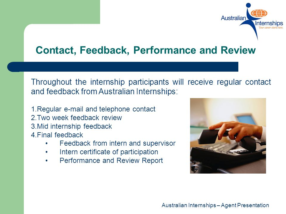 Contact, Feedback, Performance and Review
