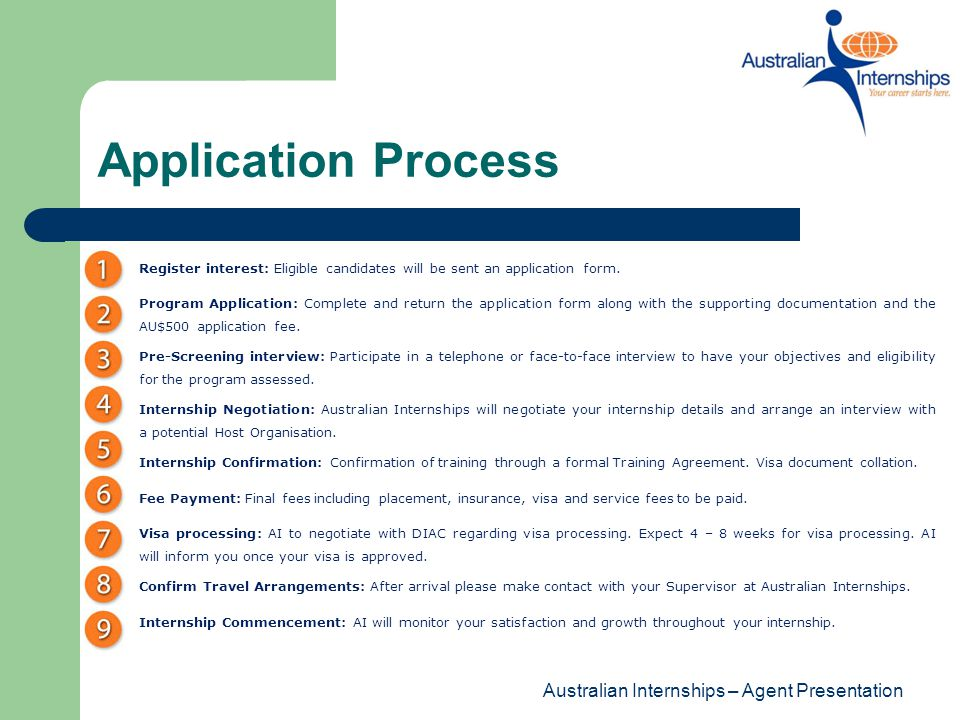 Application Process Australian Internships – Agent Presentation
