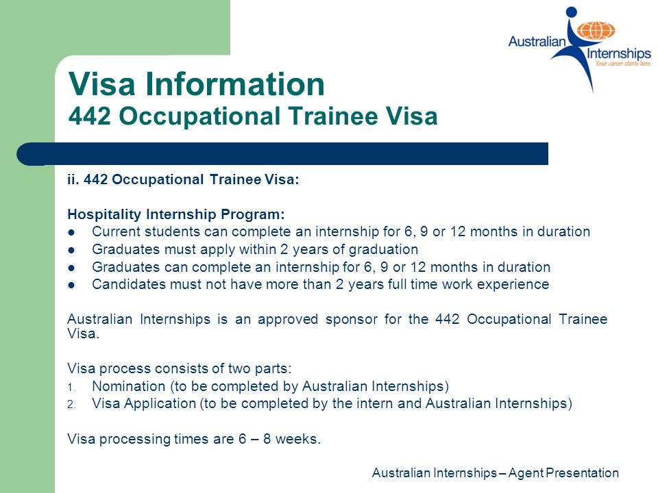 Visa Information 442 Occupational Trainee Visa