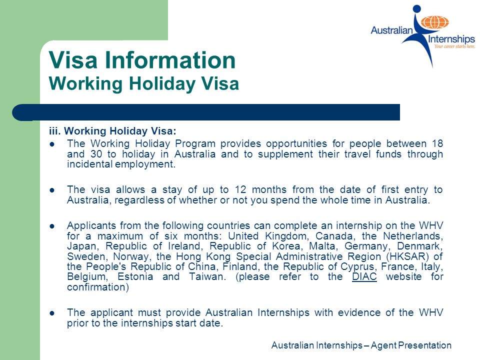 Visa Information Working Holiday Visa