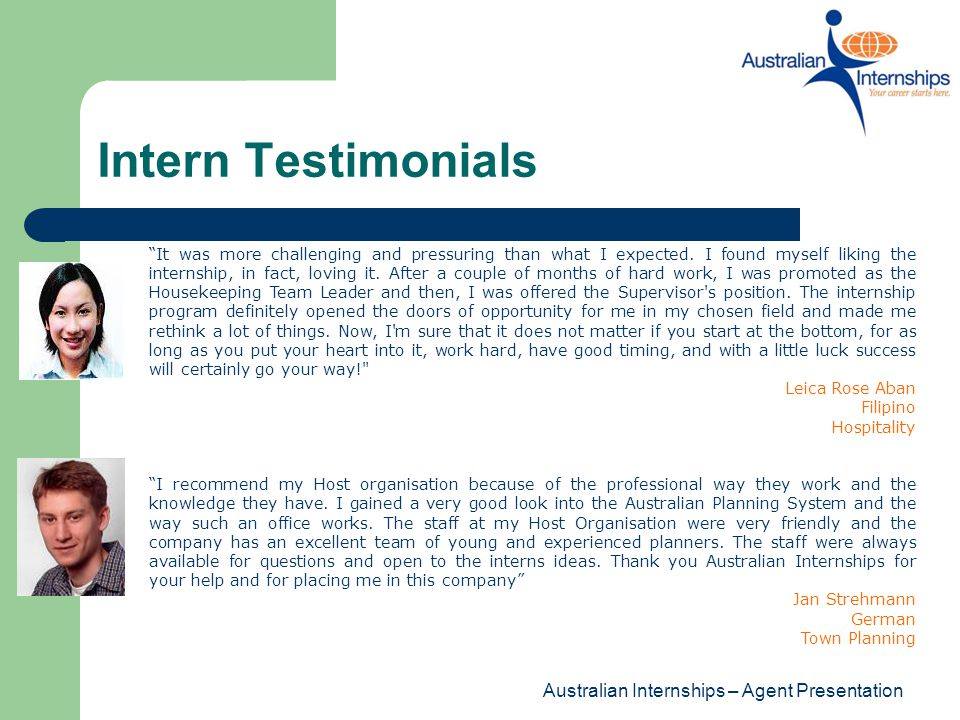 Intern Testimonials Australian Internships – Agent Presentation